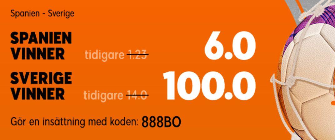 888 oddsboost Spanien -Sverige