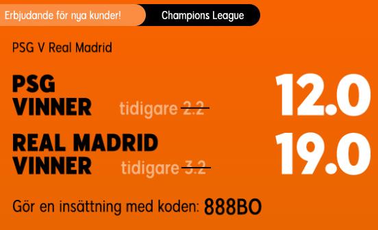 Oddsboost på Champions League mellan PSG och Real Madrid.